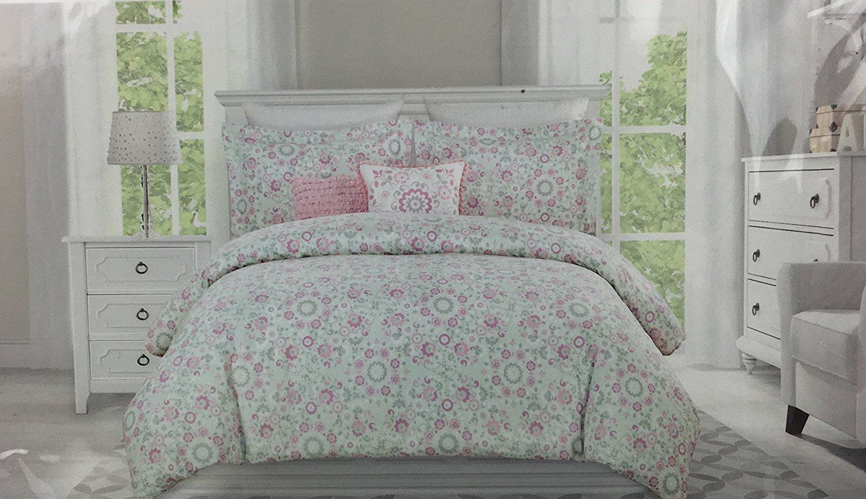 Nicole Miller Home Kids 4 Piece Twin Comforter Set Melissa Mint Green Pink Grey