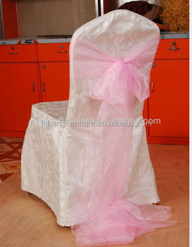 Cheap Polyester Striped Ruffled Wedding Chair Cover Pattern