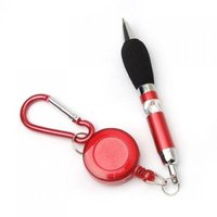 Portable carry Red Retractable Badge Reel Ballpoint Pens Belt Clip & Carabiner Blue refill Stationery Ballpen Party favor