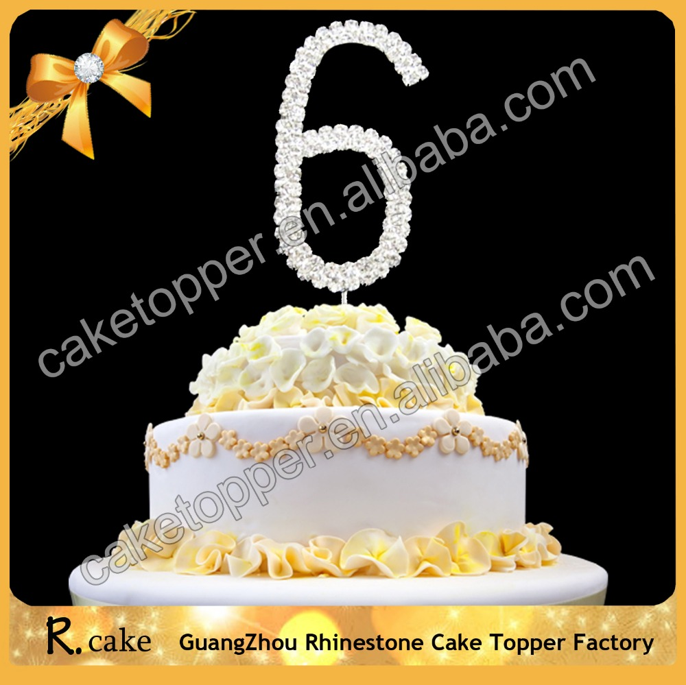 Bespoke Numbers 6 8 9 cake topper Rhinestone for Wedding Decoration Birthday Cupcake Toppers Supplies in Guangzhou