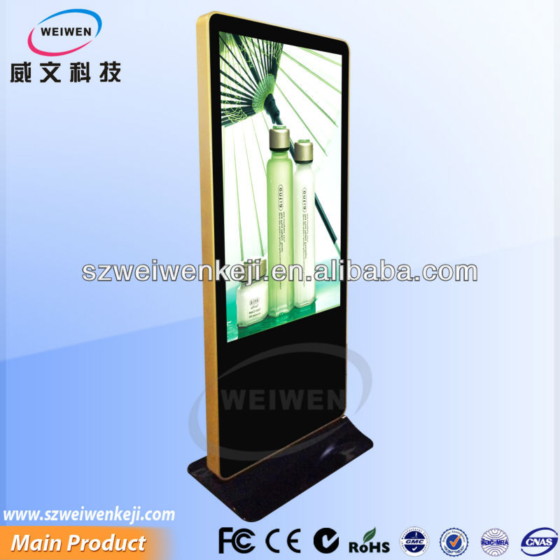 "floor stand 55"" interactive led touch screen information kiosk"