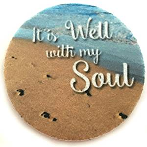 It is Well with my Soul - Set of two super absorbent car coasters for your cars cup holder - Car Cup Holder Coasters