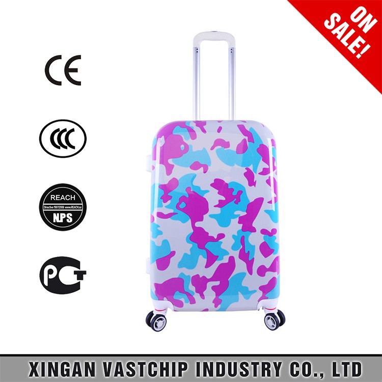 ABS +PC customized pattern colorful trolley carry on bags business suitcase
