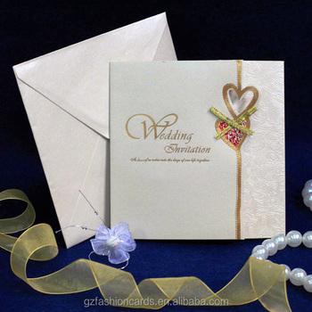 2014 Latest Cheap Handmade Wedding Invitation Card With Hearts