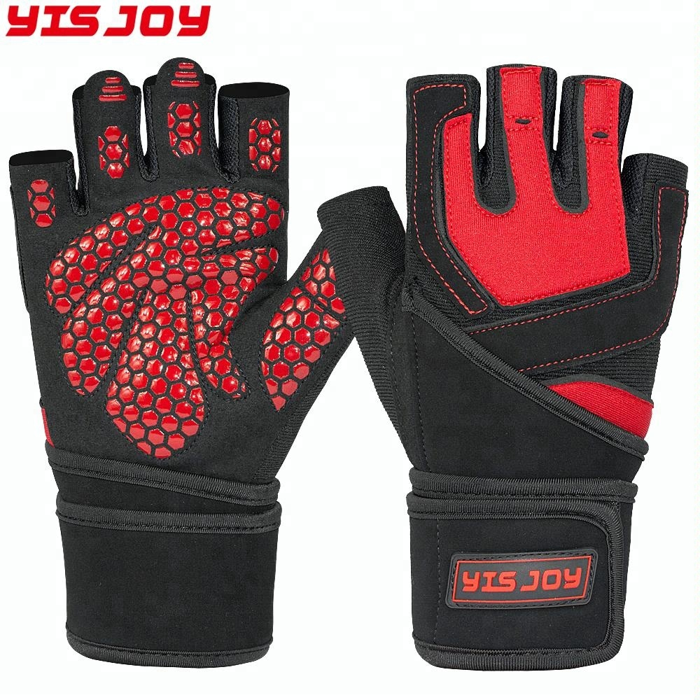 "Custom Best Gym Fitness Cross Training Workout Gloves Weight Lifting Gloves with 18"" Wrist Wraps Support"