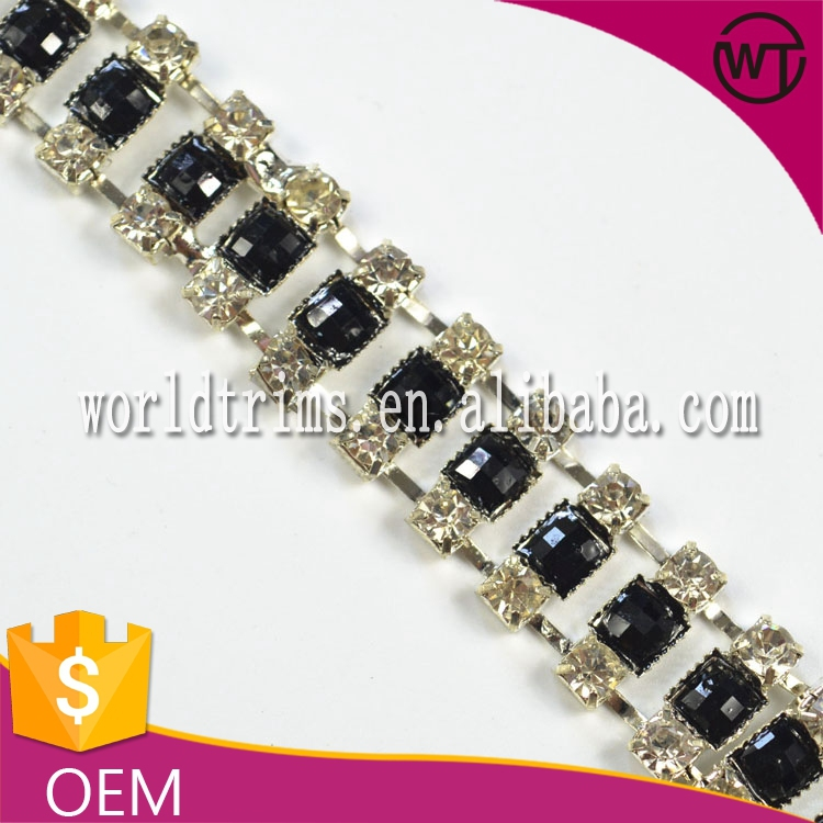 Hot sell handmade crystal rhinestone chain trim for wedding WRC22