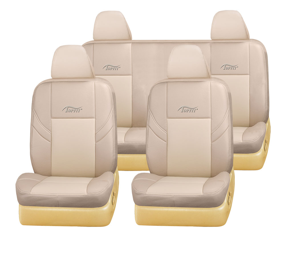 OEM knitted leather car seat cover for used car for dubai and Iraq market in beige color high quality auto seat cover TP-009