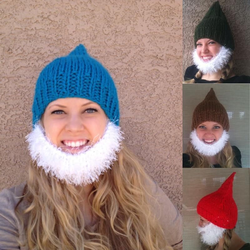 Bearded Beanie Pointed Knitting Thick wool warm Elf Dwarf ...