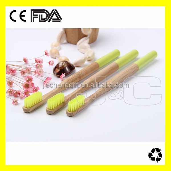 100% natural bamboo toothbrushes with nylon bristles in China factory