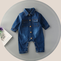 Wholesale Infant Clothing Baby Thicken Long Sleeve Denim Jumpsuits Romper