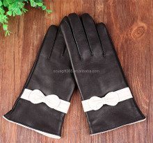 White Bow Sheepskin Leather Gloves Winter Touch Screen Gloves
