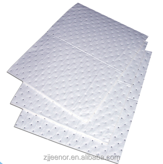 High Quality Oil Only White Absorbent Pads Sonic bonded and Perforated Sorbent pad mat