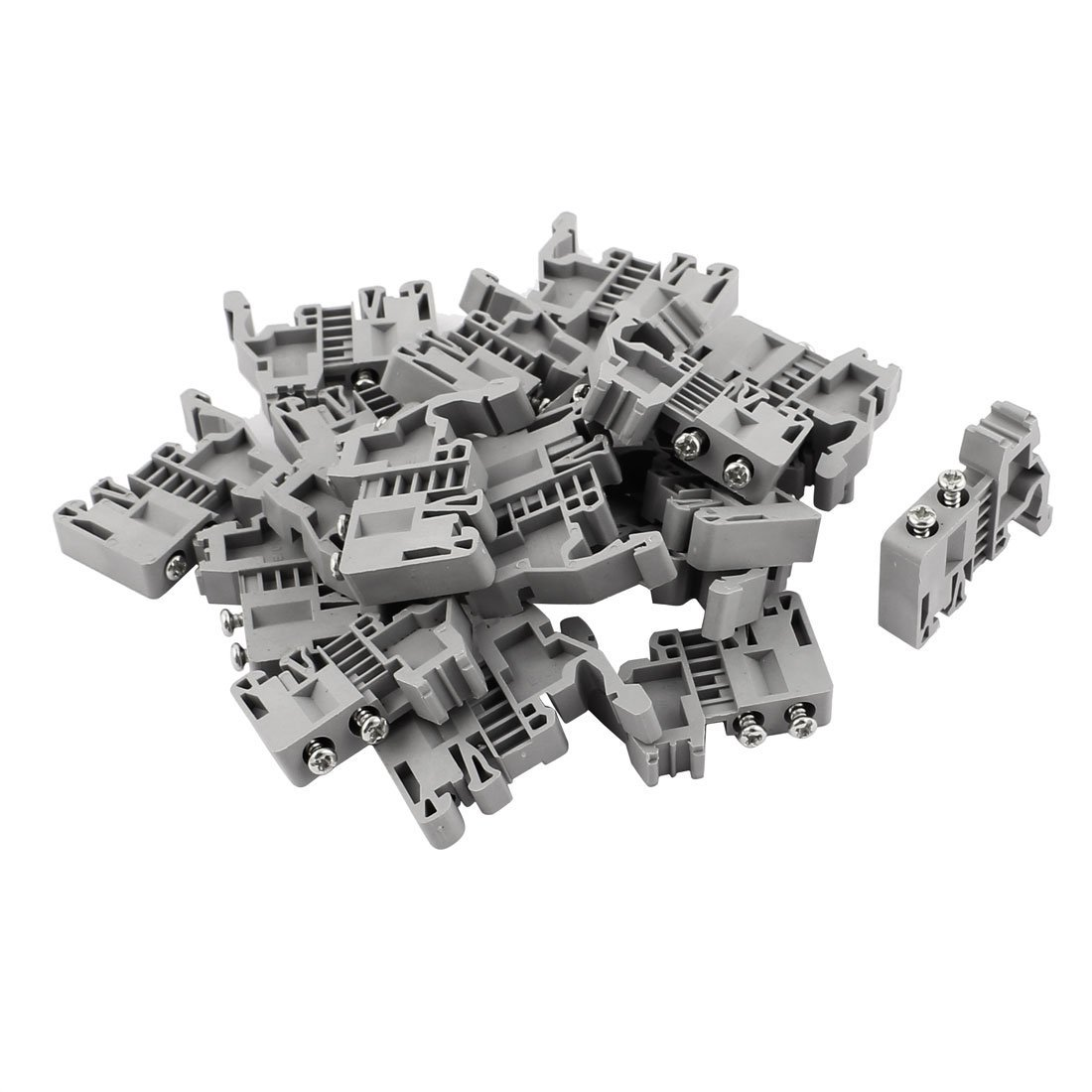 uxcell 20 Pcs E-UK 35mm DIN Rail End Screw Clamp Terminal Fixed Block Gray