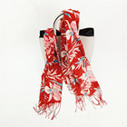 Floral printing long tassel scarf light voile material