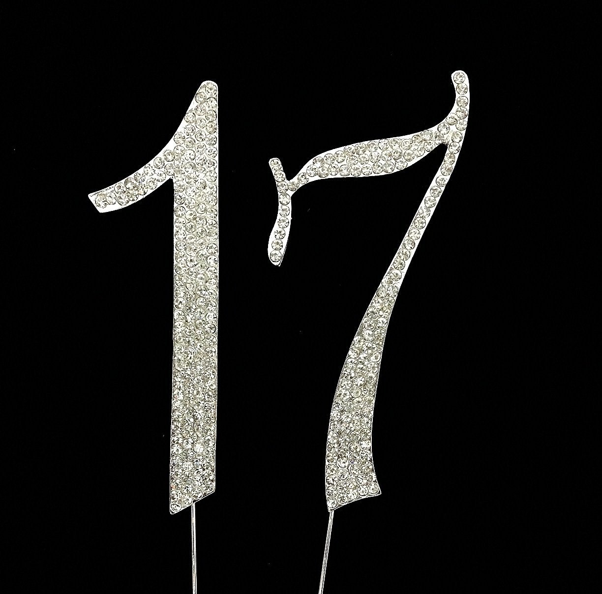 Numbrer 17 For 17th Birthday Or Anniversary Cake Topper Party Decoration Supplies Silver 45