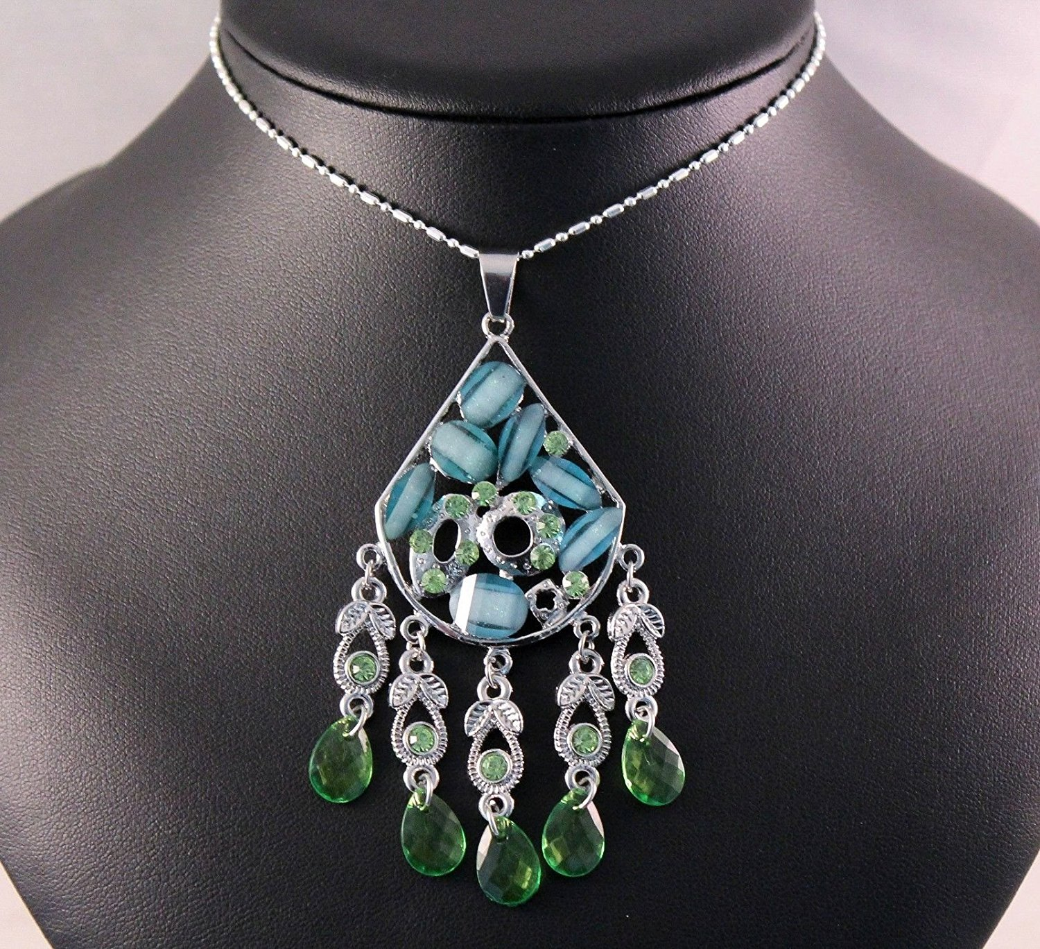 Green Gemstone Alloy Ribbon Statement Necklace with jewelry box