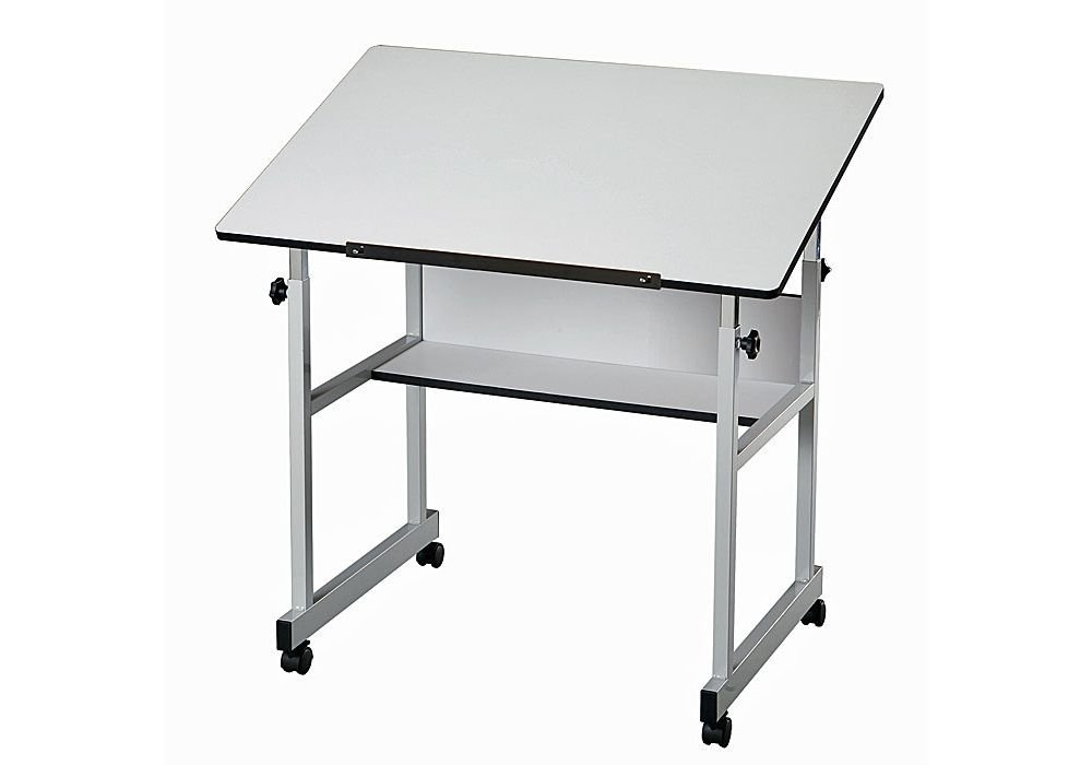 "MiniMaster Four-Post White Drafting Table Dimensions: 36""W x 24""D x 27-40""H Weight: 38 lbs White Top/Gray Base"