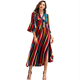 YILEYA custom striped rainbow women long dress chiffon new style midi dress with neck sashes