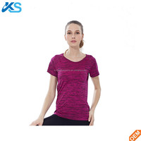 T Shirt Short Sleeve Gym Running Fitness Breathable Exercises 100%Polyester Cationic Dye Quick Dry Women Top T-Shirts