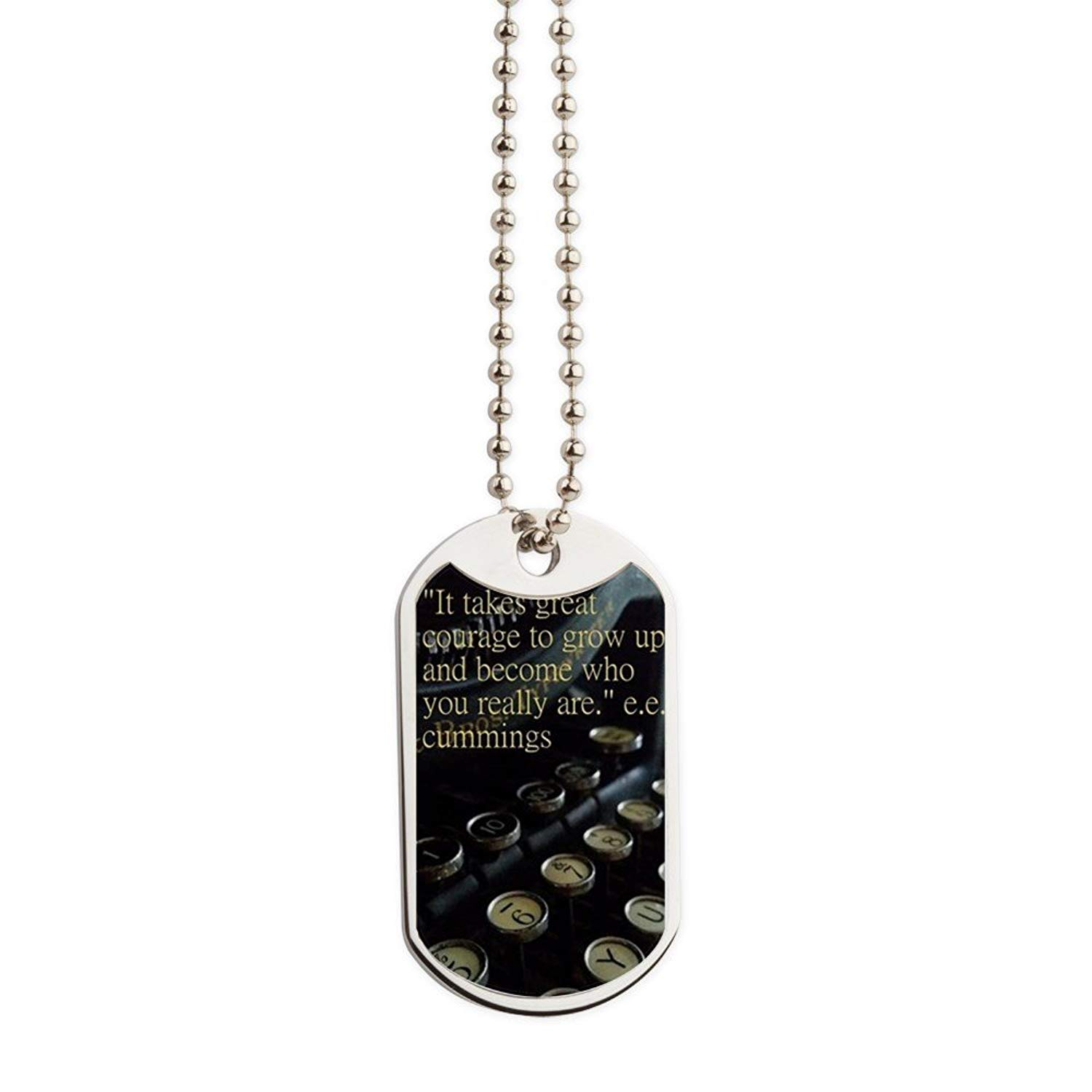 CafePress - Courage Vintage Typewriter - Military Style Dog Tag, Stainless Steel with Chain