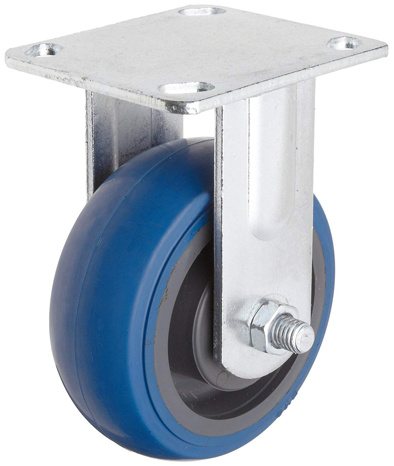 "RWM Casters S65 Series Plate Caster, Rigid, Kingpinless, Urethane on Polypropylene Wheel, Stainless Steel Plate, Ball Bearing, 750 lbs Capacity, 5"" Wheel Dia, 2"" Wheel Width, 6-1/2"" Mount Height, 4-1/2"" Plate Length, 4"" Plate Width"