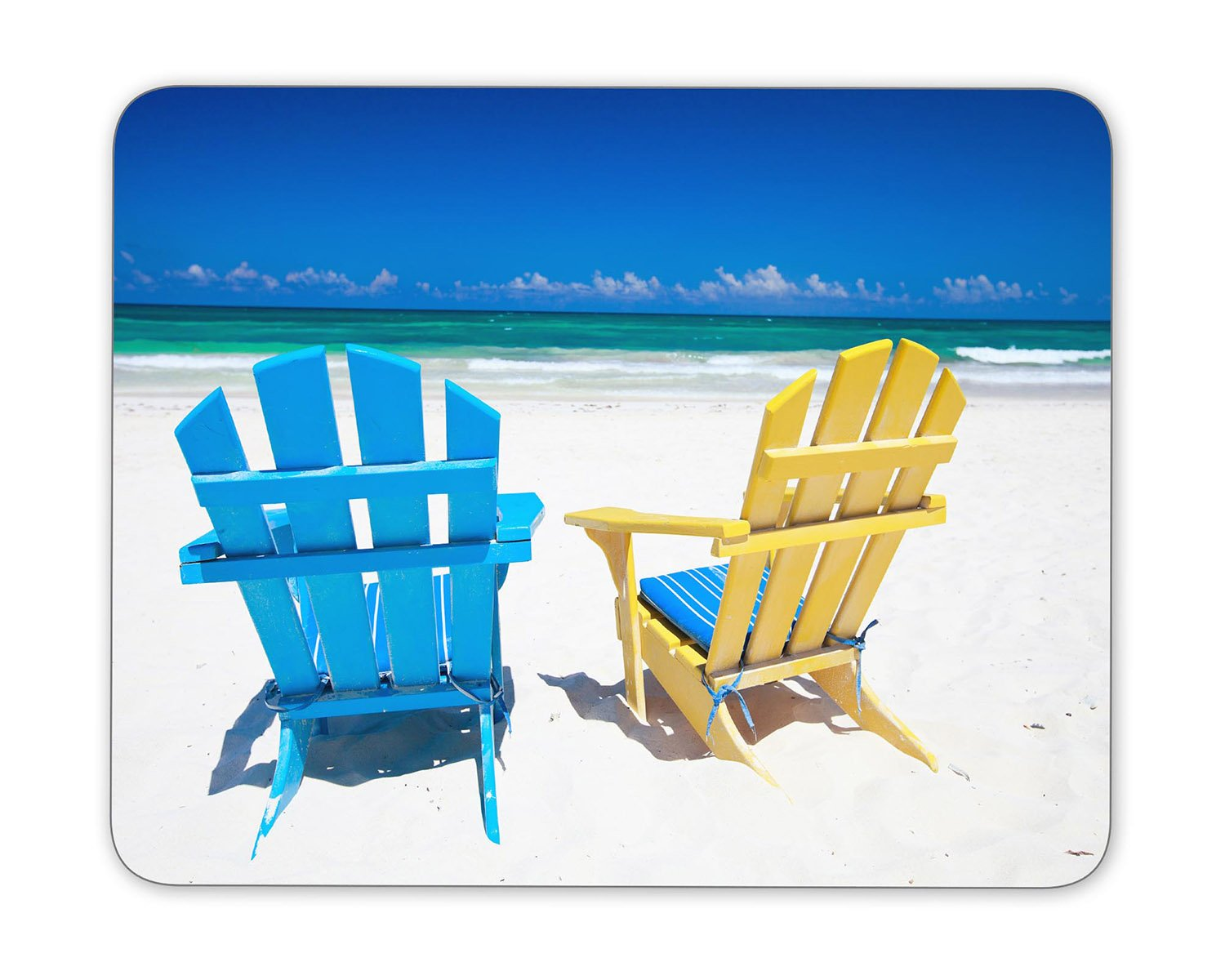 """Colorful wooden chairs on beach Mouse Pad mouse mouse pad Mouse Pad Pad Office Mouse Pad Gaming Mouse Pad Mat Mouse Pad mousepad Dimension: 9.5"""" x 7.9"""""""