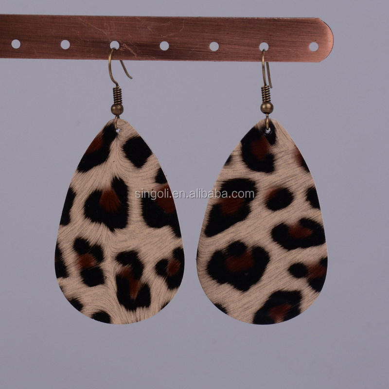 Leopard Print Leather Teardrop Earrings Texture Leather Earrings