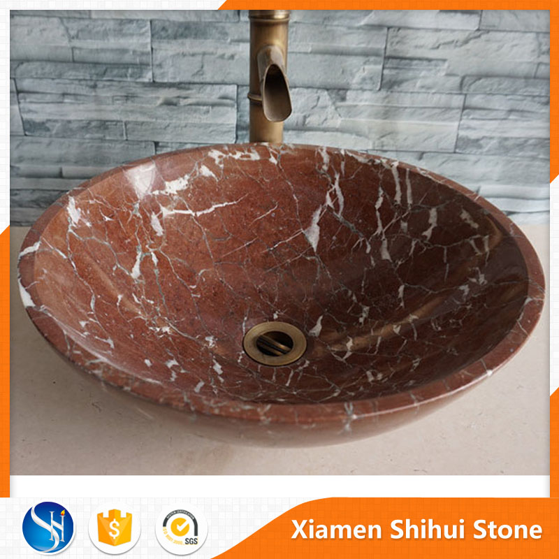 Factory Wholesale Red Bathroom Stone Sink