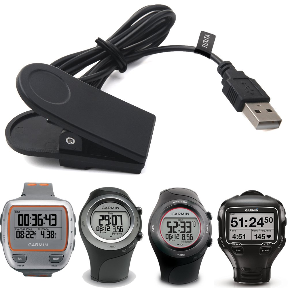 TUSITA Charger For Garmin Forerunner 310XT, 405, 405CX, 410, 910XT (3.3ft/100cm) ,Replacement USB Charge Charging Cable Cord Wire Clip Dock