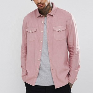 latest design garment dyed vintage wash shirt in pink