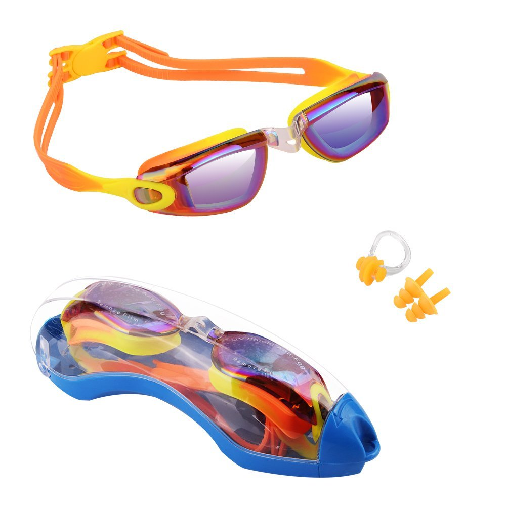 Kids Swim Goggles, Hurdilen Swim Goggles for kids Swimming Goggles with Anti-Fog UV Protection No Leaking Coated Lens with Case,Nose Clip,Earplugs for Boys Girls Youth Kids