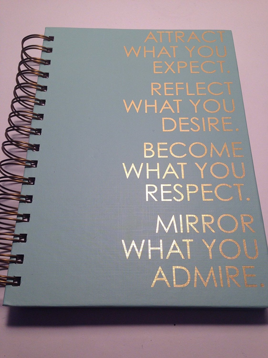 """Become What you Respect"" Spiral Bound ""SUBJECT NOTEBOOK"" Aqua / Lg. Gold Text"