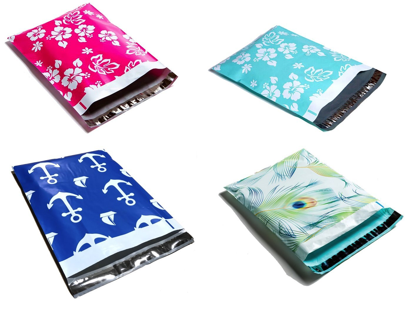 Designer Poly Mailers 10x13 : Pink Aloha, Mint Hawaiian, Peacock, Nautical; Printed Self Sealing Shipping Poly Envelopes Bag Assorted ( 80 Variety Mix Pack )