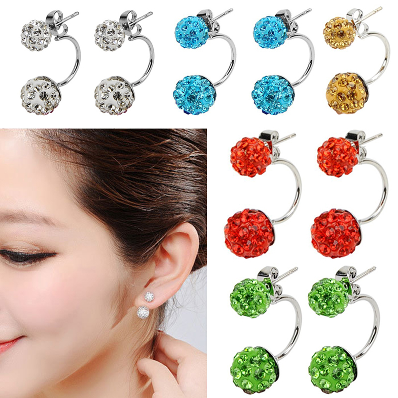 Get Quotations Top Quality Double Side Earring Fashion Jewelry Shamballa Stud Earrings Crystal Ball Women Stainless Steel