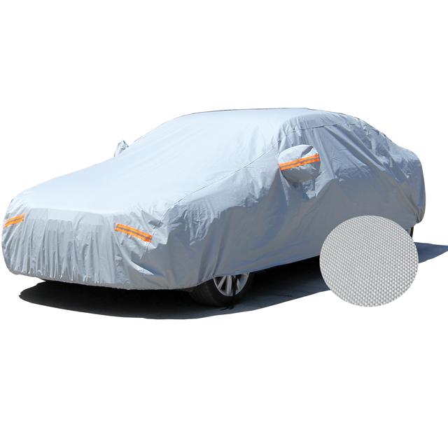 2018 hot nieuwe producten reflecterende auto cover fabrikanten draagbare polyester taffeta zilver gecoat weefsel