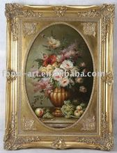 KOB60116 Antique Frame Photo Canvas Flower Oil Painting
