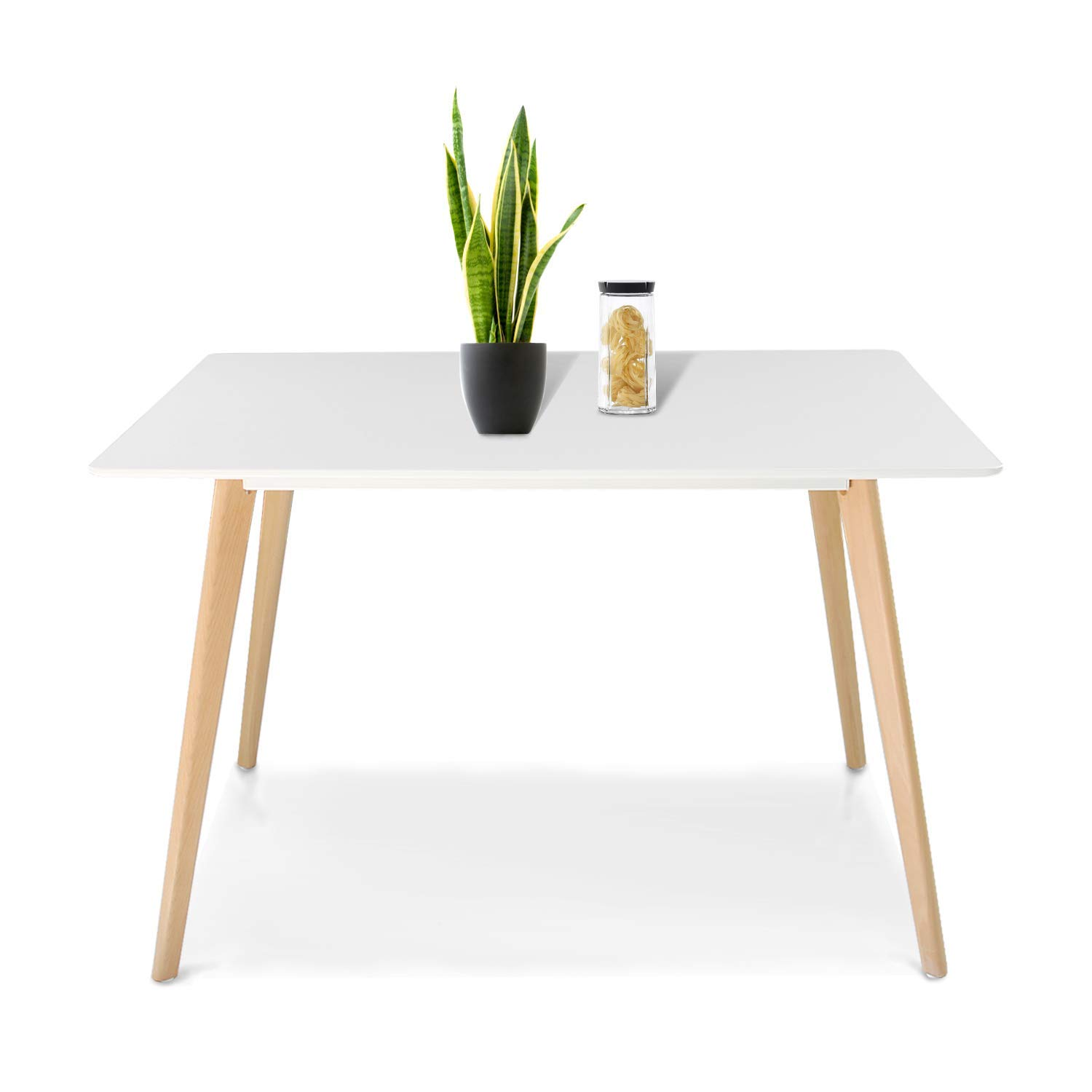 Jerry & Maggie - Dinner Table Desk Large Family Size with Wood Legs Stone Like Polish Surface Multi Purpose Work Study Living Room Kitchen Furniture Decor Modern Fashion Simple - Rectangle | White