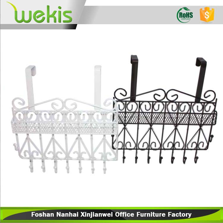 Decorative Metal Over Door 7 Hook Rack for Clothes Hanger