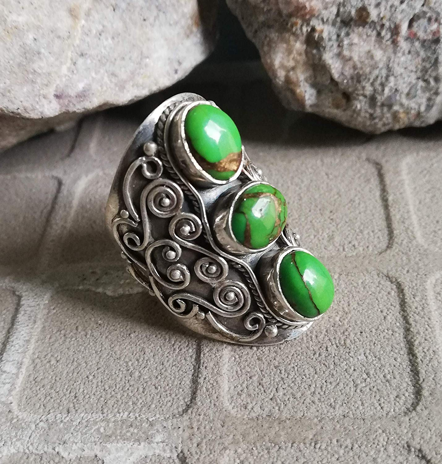 Green Copper Turquoise Ring, 925 Sterling Silver, Antique Ring, Victorian Ring, Three Stone Ring, Ultimate Ring, Wide Band Ring, Unique Piece, Rare Ring, Long Ring, Classic Elegance Ring Filigree Ring