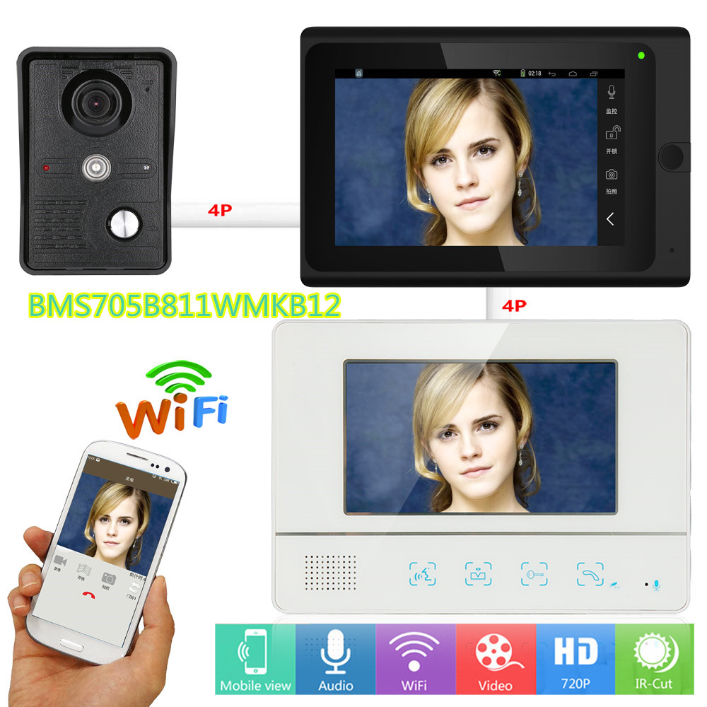 "7"" 2 Monitors Wired /Wireless Wifi Door bell Intercom System"