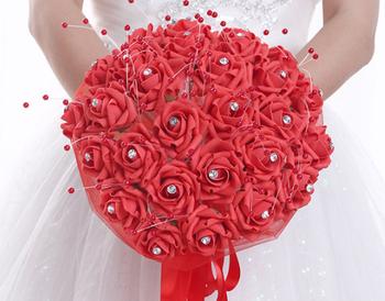 Avrupa Düğün Pe El Tutan çiçekler Düğün Inci Buket çiçek Güzel Gelin