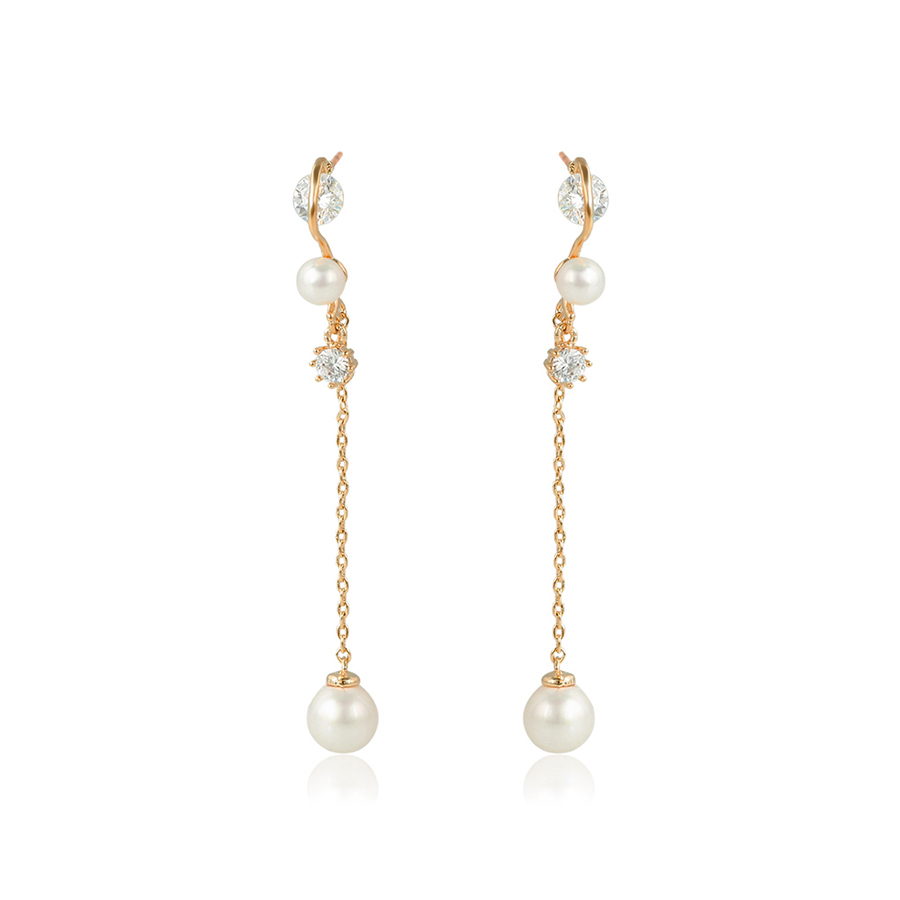 95539 xuping 2017 popular newest alibaba hot selling noble white pearl linear 18k gold dangle earring