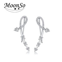 925 Sterling Silver CZ Diamond Long Charm Earrings Jewelry For Girls AE3231S