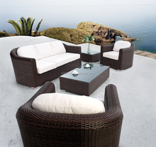 Classical thick design home outdoor patio furniture with tub chair and center table widely used rattan sofa for sale