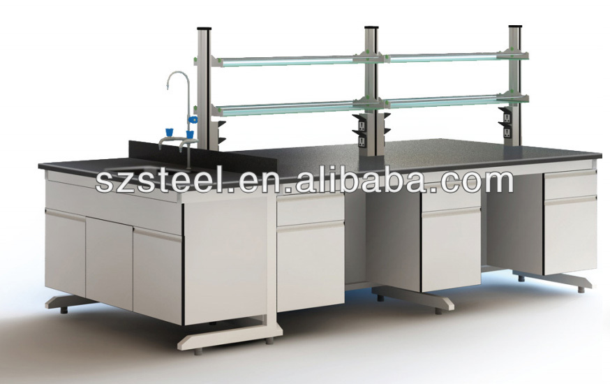 Simple Island Chemical Lab bench/with glass shelf for school and Lab