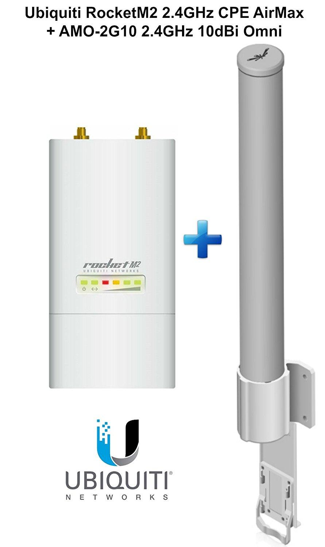 Ubiquiti RocketM2 RM2 2.4GHz CPE AirMax + AMO-2G10 2.4GHz 10dBi Omni Antenna