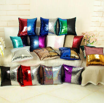 Two Tone Reversible Sequins Decorative Throw Pillows Christmas Mermaid Pillow Double Colors Magic Flip Sequin Pillow