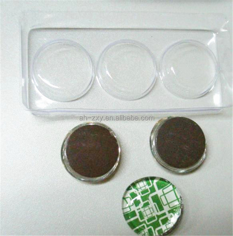 glass crystal round dome fridge magnet 3 pack per set in plastic box