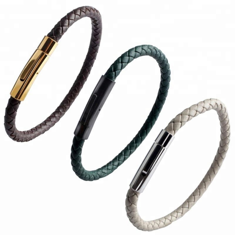 Unisex Genuine Braided Leather Bracelet 316L Stainless Steel Clasp Rope Leather Bangles, Coffee;green;grey leather