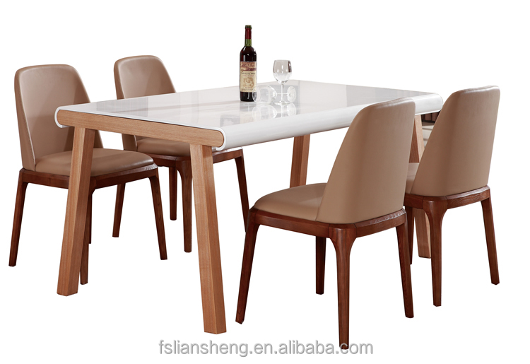 Dt014 2015 new design simple leather table dragon mart for Latest dining table designs 2015